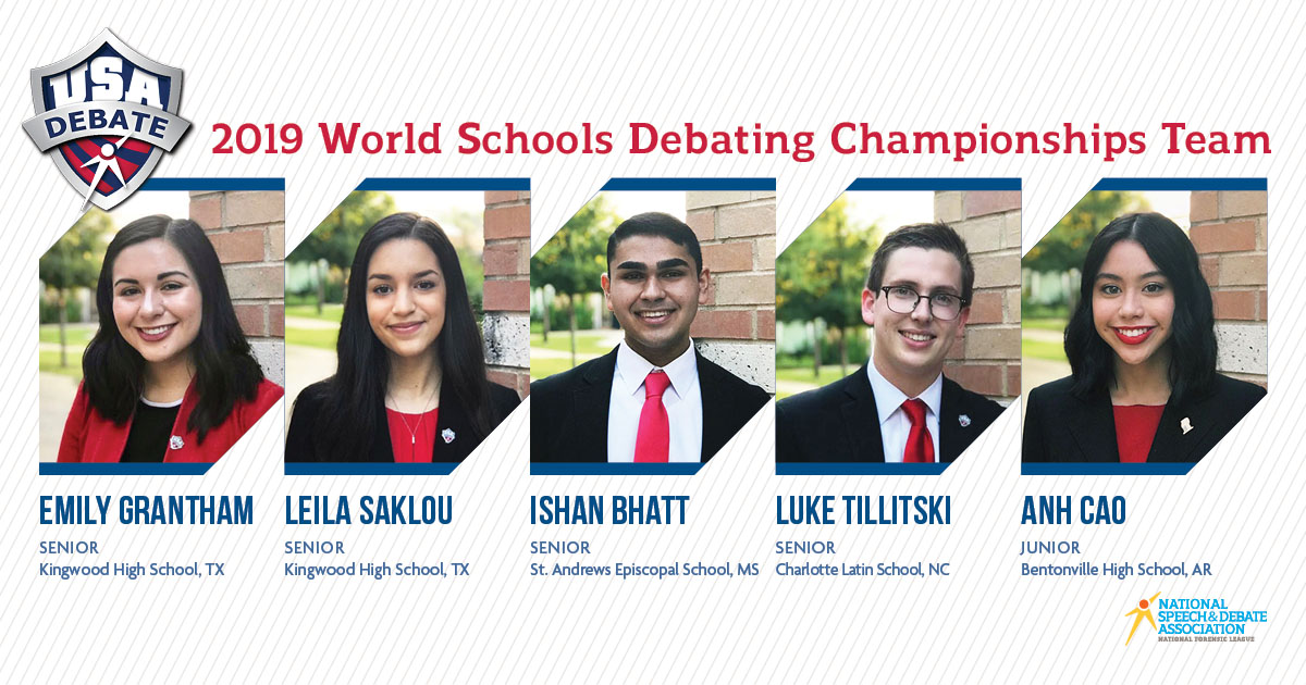2019 World Schools Debating Championships Team