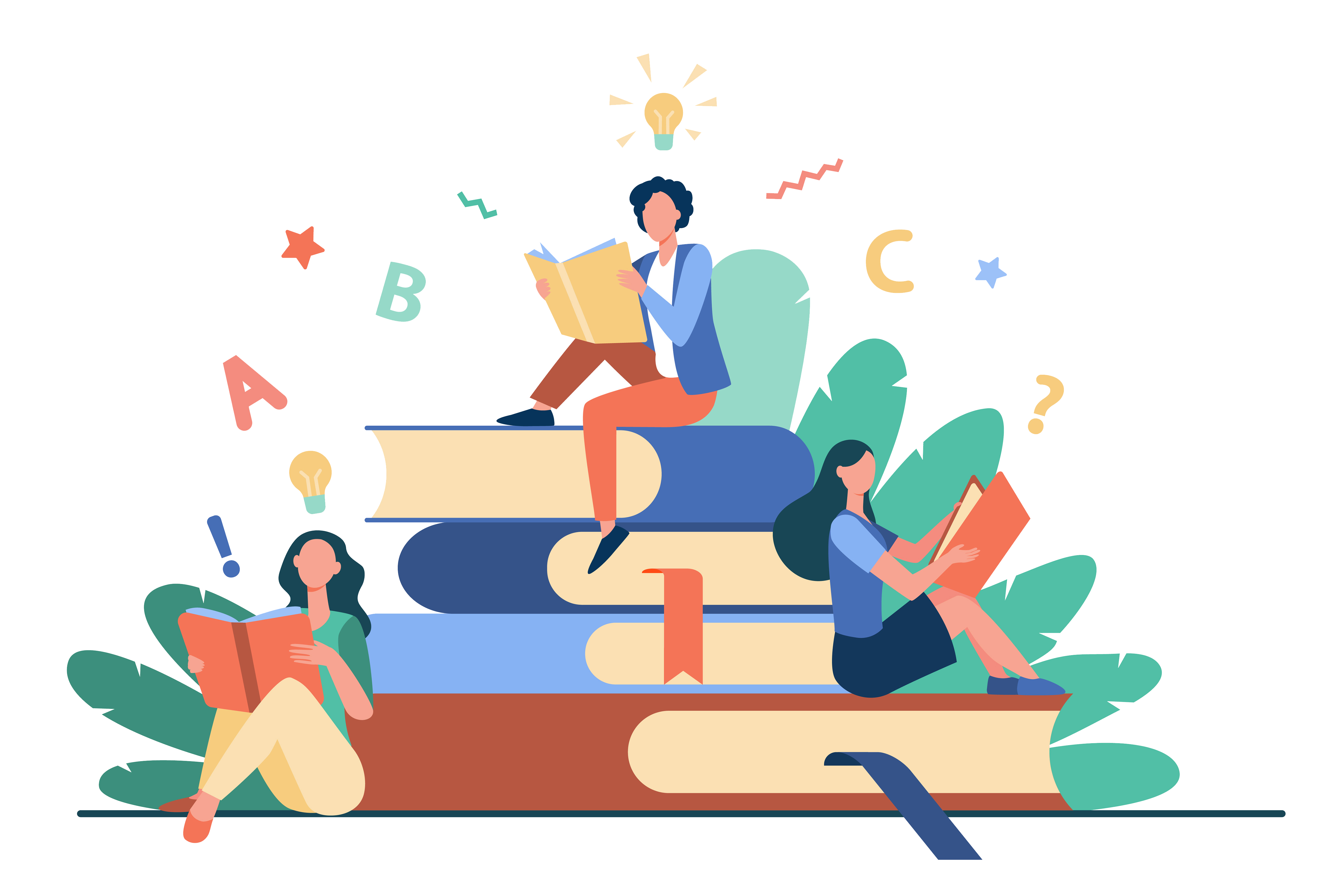 Students sitting on books