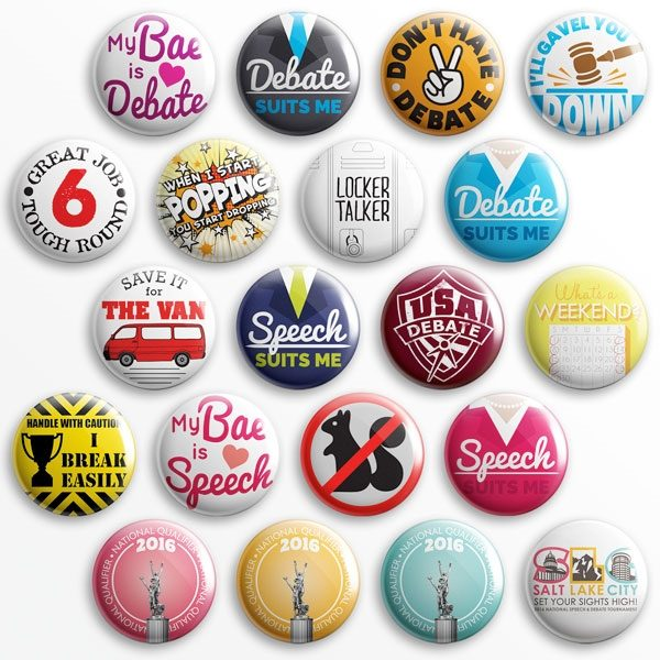 Expressive pins to show off your love of speech and debate