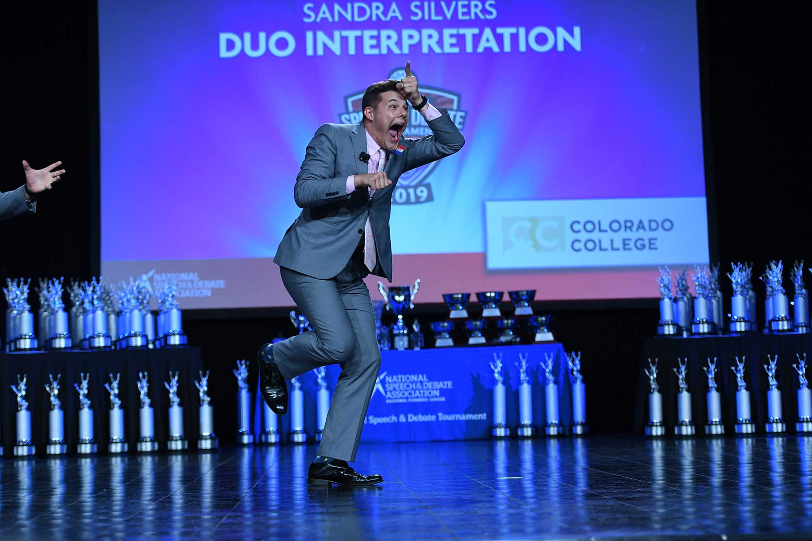 2019 National Tournament DUO Performance on stage acting like a unicorn