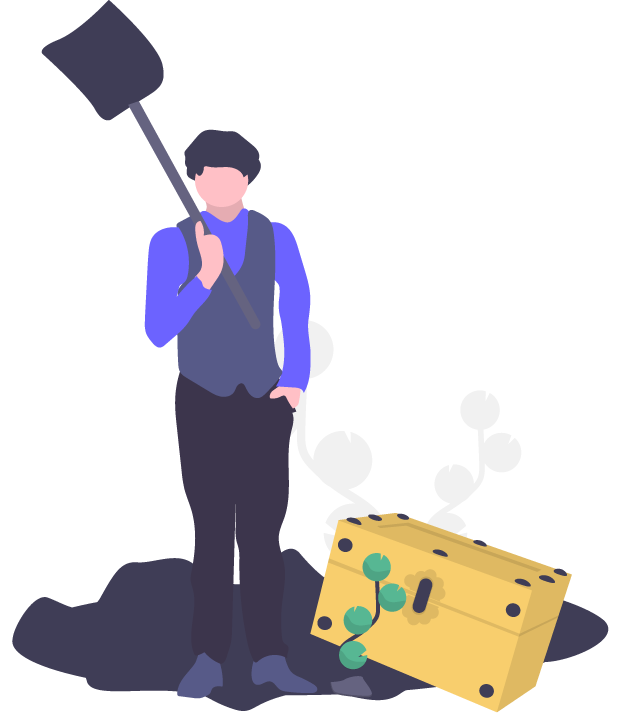 Illustrated person digging for something