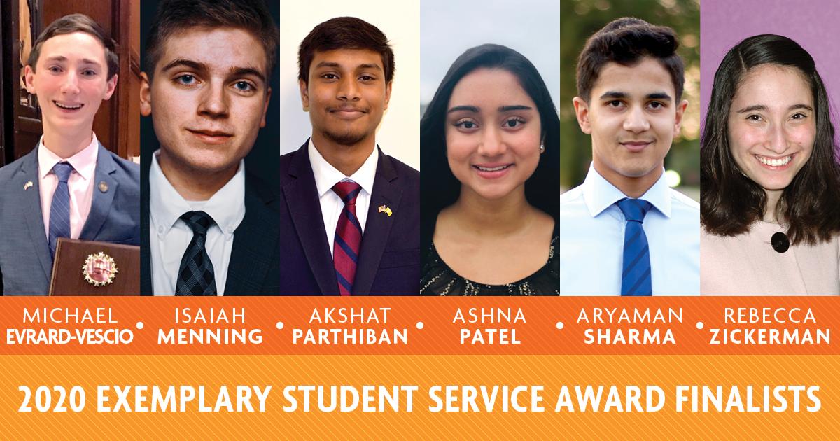 2020 Exemplary Student Service Award Finalists