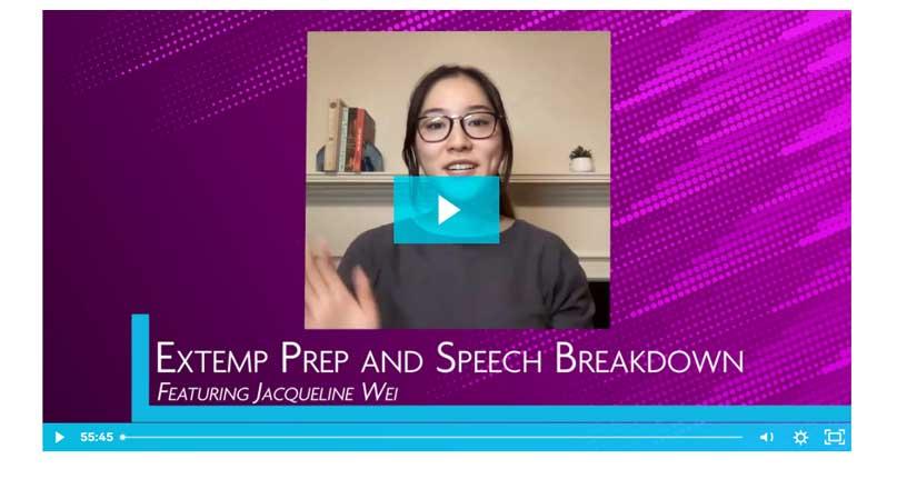 Extemp Prep and Speech Breakdown: Featuring Jacqueline Wei