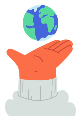 Hand holding up the planet earth