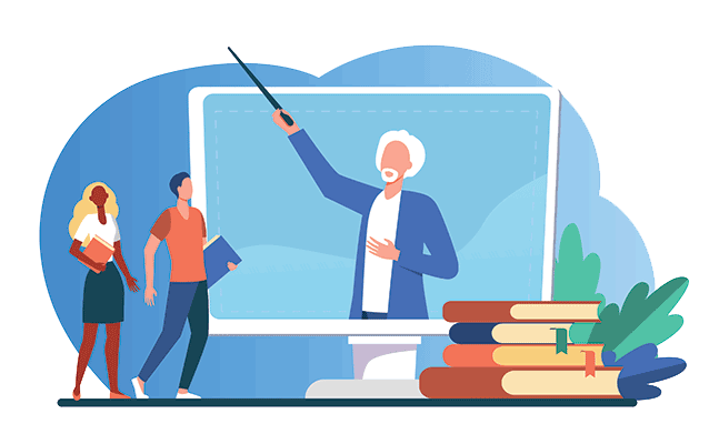 Illustrated teacher displayed on a screen with two students
