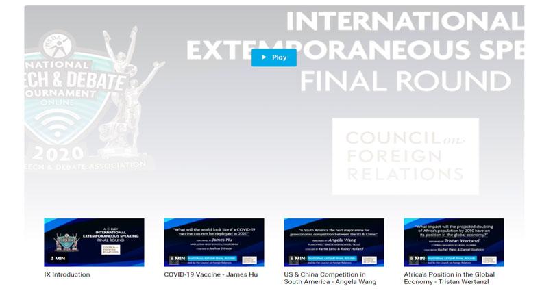 International Extemporaneous Speaking Finals