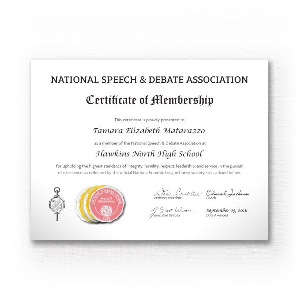 National Speech and Debate Association Certificate of Membership