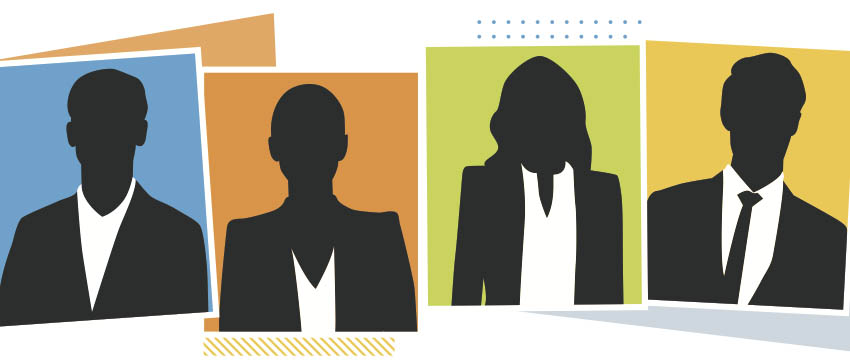 Silhouette of 4 people in business attire