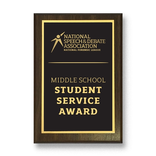 Middle School Speech and Debate Service Plaque