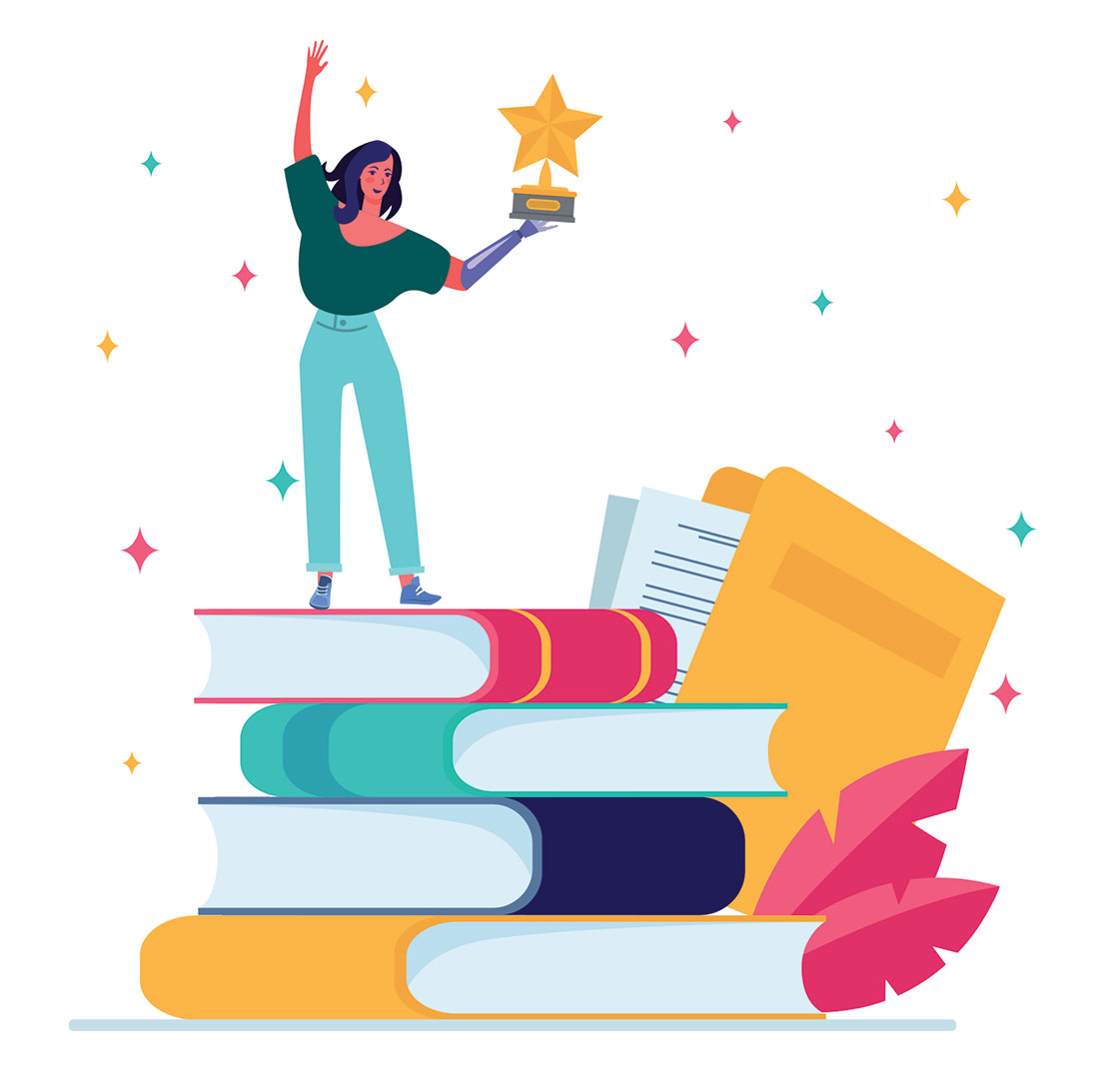 Person holding an award standing on oversized books