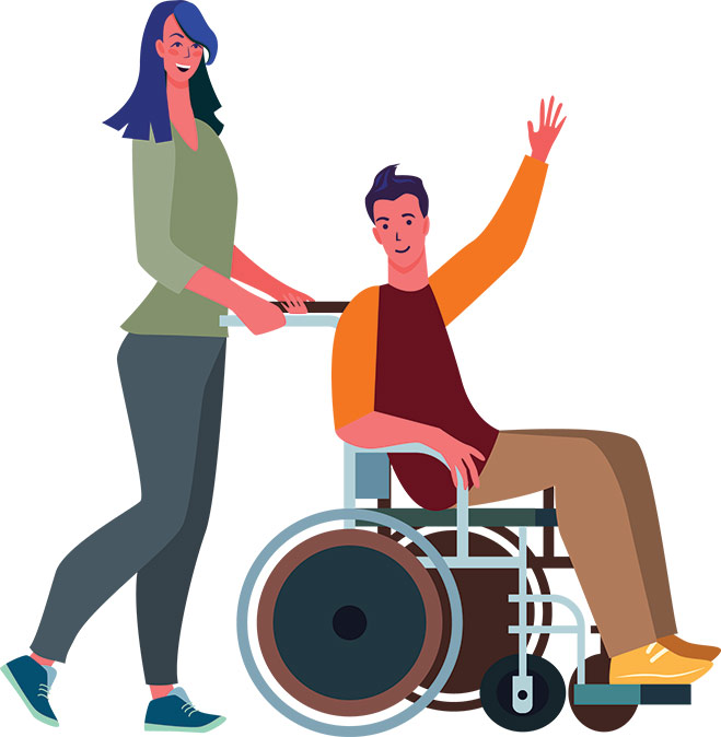 Person pushing another person in a wheelchair