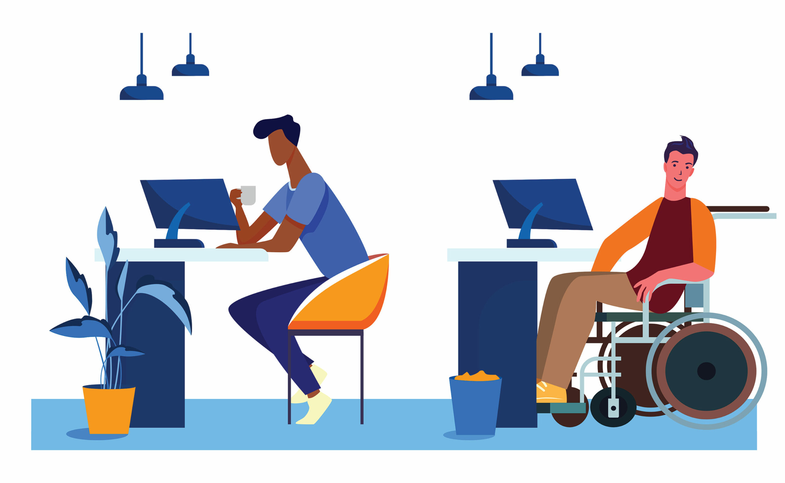 Two people in an office by computers, one in a wheelchair