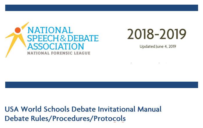 USA World Schools Debate Invitational Manual