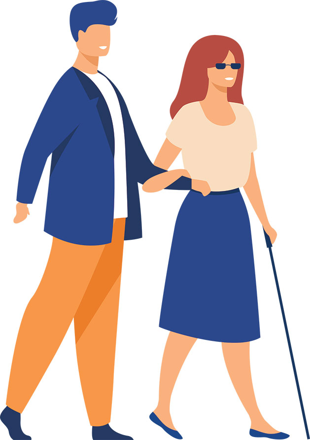 Person guiding a blind person to walk