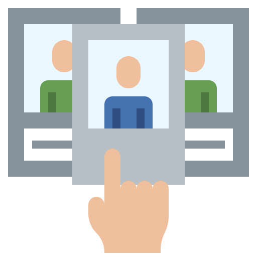 Icon of a finger pointing to three different media screens