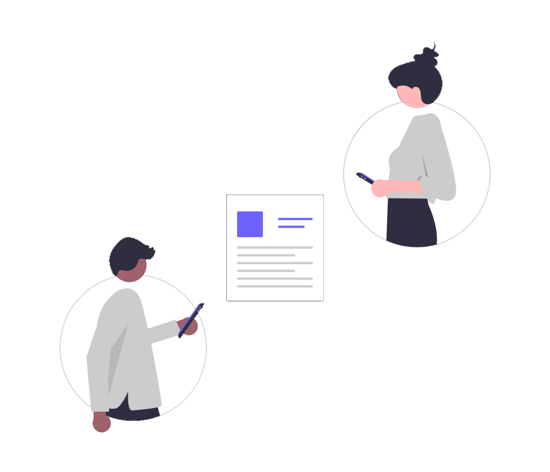 Two illustrated people looking at a paper